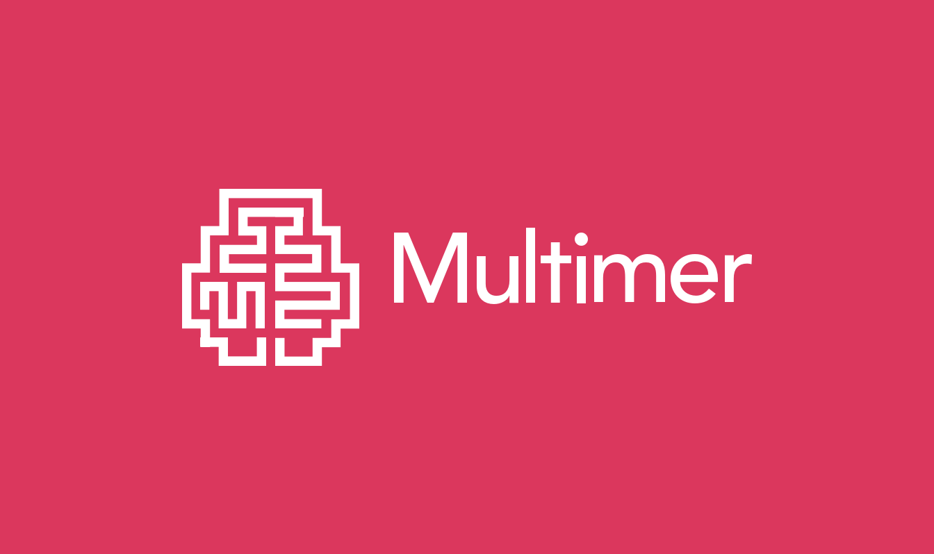The logo we designed for Multimer which resembles a brain made up of paths