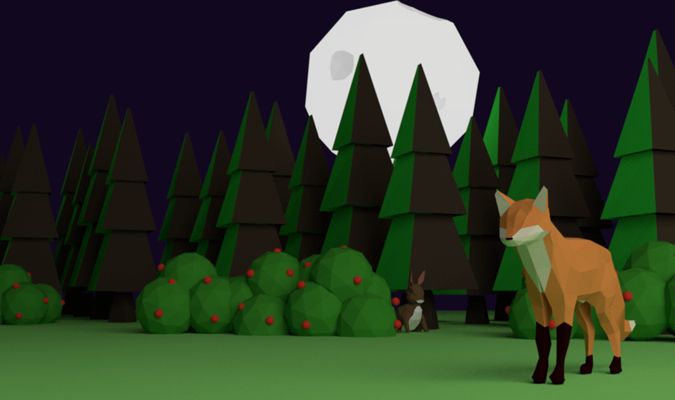 A 3D rendering of a fox and a rabbit in the woods