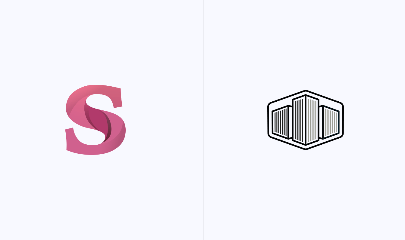 Two logo concepts for Stae - one a stylised S, the other a badge with minimalist buildings
