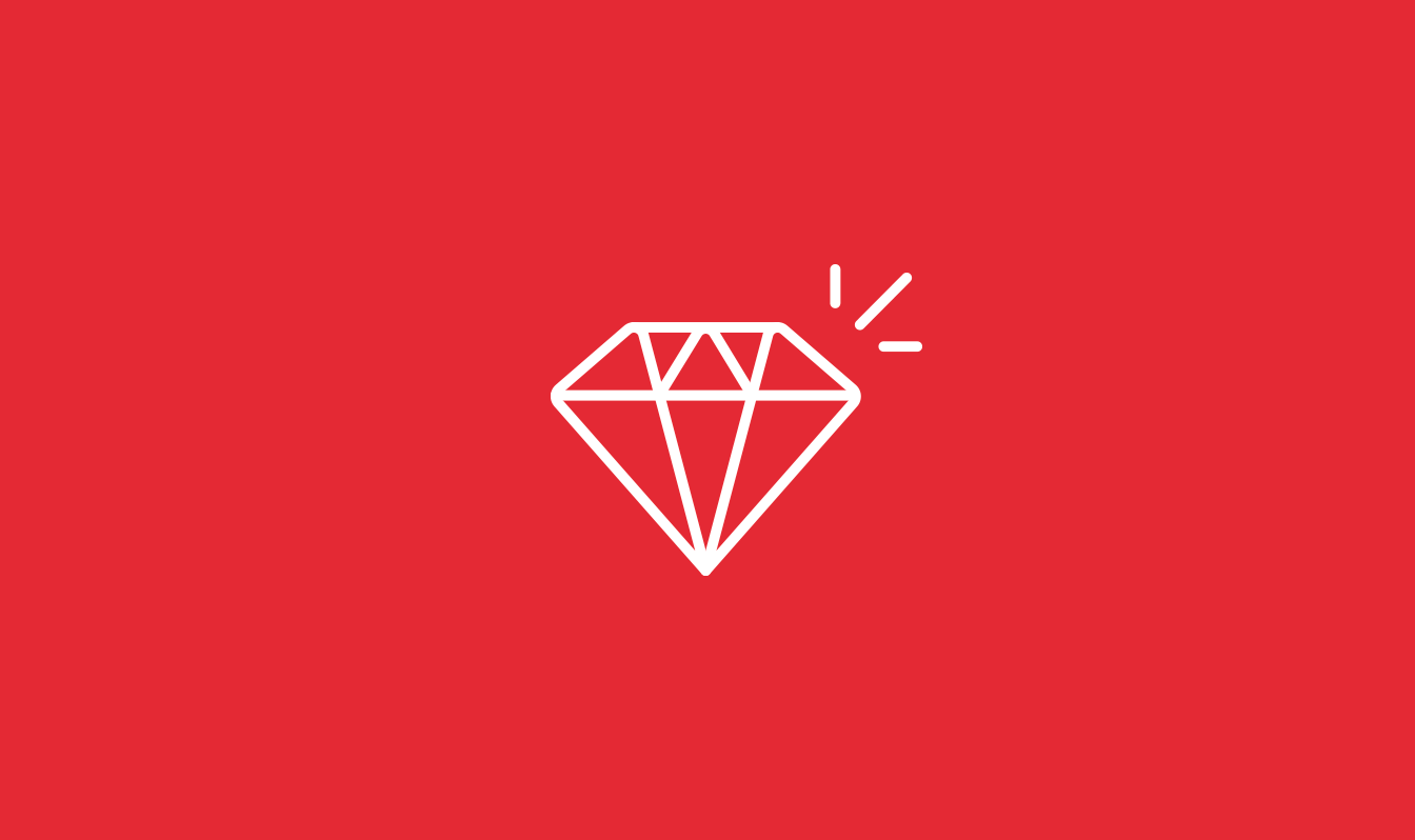A ruby gem icon on a red background