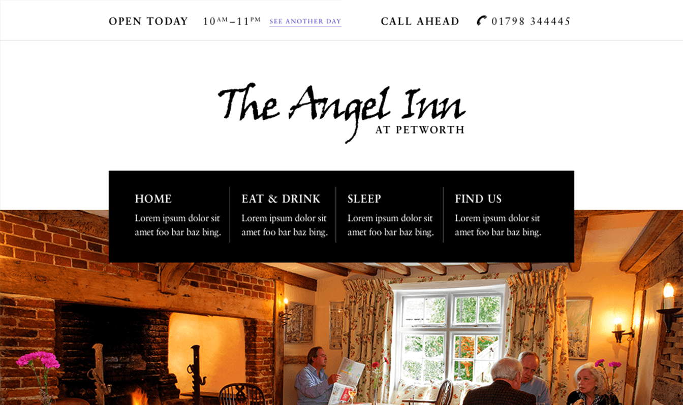The website homepage for pub, The Angel Inn